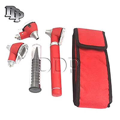 Ddp Otoscope - Compact Pocket Size Fiber Optic Ent Diagnostic + 2 Free Extra Replacement Bulbs - Red Color