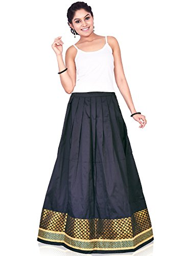 IndusDiva Women's Black Art Silk Skirt