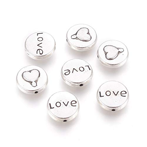 Lead Free Pewter Heart - Kissitty 20pcs Antique Silver Tibetan Style Love Beads Flat Round with Heart and Word Love Spacers Valentines Gift Ideas for Her Lead Free & Cadmium Free & Nickel Free 13x5mm