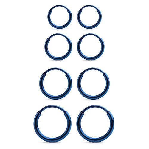 (Ruifan 4 Pairs Stainless Steel Mens Womens Earrings Cartilage Lip Piercing Nose Septum Hoop 18G 8mm-14mm - Blue)