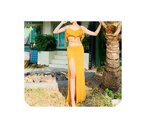 2 Piece Women's Belly Dance Set Oriental Dance Costume Top+Split Long Skirt Belly Dance,Yellow,XL]()