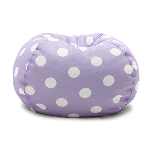 (Big Joe 0630252 Lavender Polka Dot Classic Bean Bag Chair, Lavendar with White)