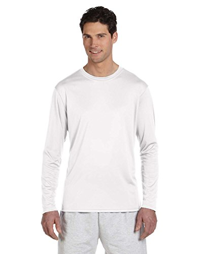 Champion Men's Long Sleeve Double Dry Performance T-Shirt, White, X-Large