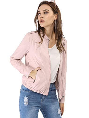 Allegra K Women's Lightweight Classic Casual Stand Collar Pocket Short Biker Moto Jacket Pink L (US 14)