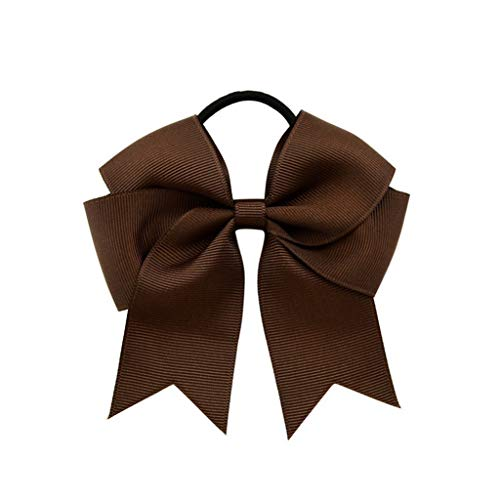 Actuallyhome Solid Grosgrain Ribbon Bow Women Elastic Hair Bands Bowknot with Rubber Rope Hairbands Headdress (03 Coffee,-) -