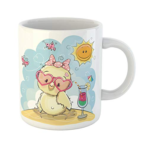 Semtomn Funny Coffee Mug Baby Greeting Card Cute Chick in Sun Glasses on the 11 Oz Ceramic Coffee Mugs Tea Cup Best Gift Or Souvenir -