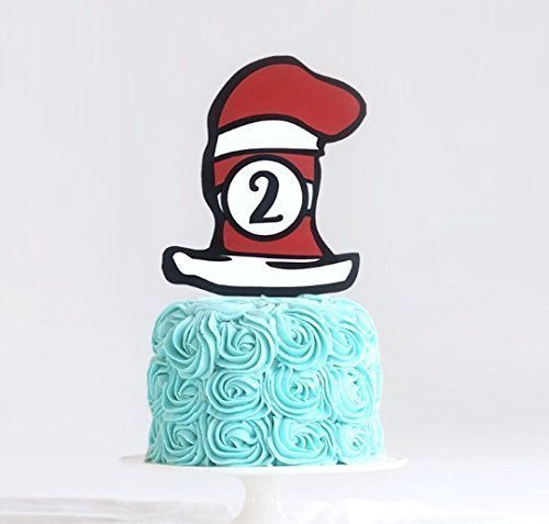 Cat In The Hat Custom Age Cake Topper, Dr. Seuss Toppers, Thing 1 Thing 2 Cake Topper, Dr. Seuss Party Decorations, Dr. Seuss Centerpiece ()