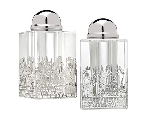 (Jerusalem Salt and Pepper Shaker Silver and Clear Crystal - Set of 2)