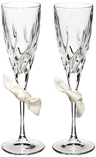 24-Percent Lead Crystal Love Knot Toasting Flutes, Set of 2, -