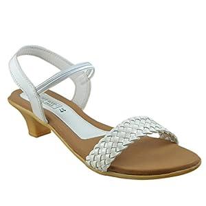 Leatherwood1 Women's White Synthetic Sling Back Kitten Shoes – INDIAN/UK-8 EU-41
