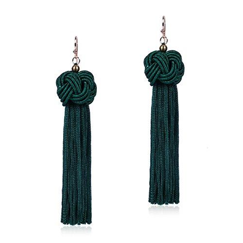 Knotted Tassel Earrings Long Tassel Fringe Earrings Yarn Tassel Earrings Teal (Teal Womens Earring)