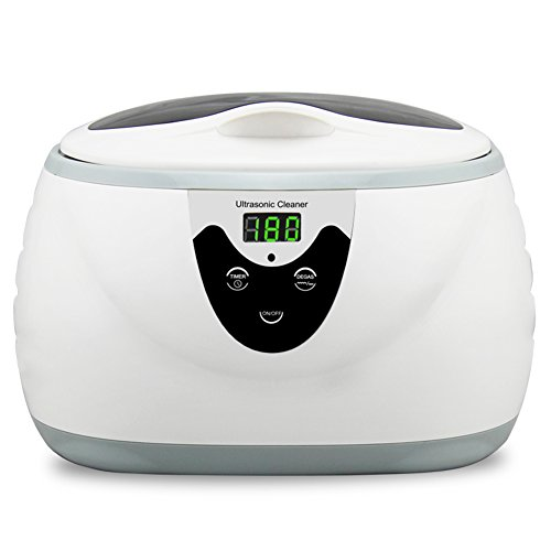 Professional Ultrasonic Jewelry Cleaner, Household Supersonic Cleaner Machine with Digital Timer for Cleaning Eyeglasses,Watches,Rings,Coins,Necklaces,Watches,Razors,Dentures(White,600ml)