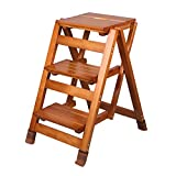 Heavy Duty Step Stool Fold Up 3 Steps Wooden Ladder Portable Chair Household Stair Chair Stepladder Widened Stool for Kids/Adults,with Non-Slip Mat,Height 65.5cm|Walnut Colour