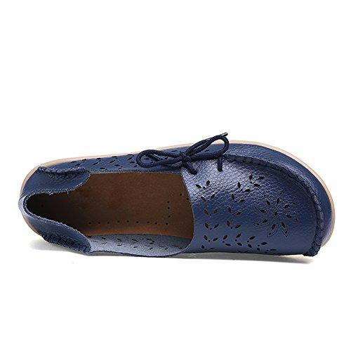 Blivener Donna Casual Mocassini Con Lacci Cava Scarpe Basse Pantofole Estive Blu Scuro