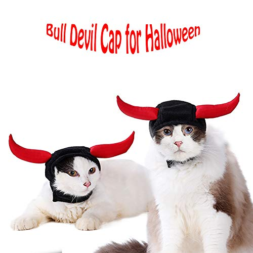 WORDERFUL Halloween Cat Cosplay Costume Dress Cat Mane Cap Bull Devil Design Pet Hat Two Red Ox Horn Design for Small Cat/Teddy/Puppy (Black) ()