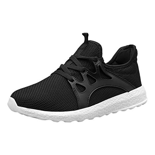 (KESEELY Trainers for Men - Fashion Casual Mesh Lace Up Solid Sport Running Shoes Lightweight Soft Leisure Sneakers)