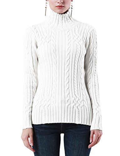 Sweaters Hand Pure Knit (Rocorose Women's Cable Knit Long Sleeves Turtleneck Pullover Sweaters Pure White S)