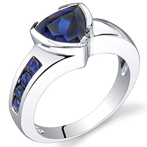 2.75 carats Trillion Cut Created Sapphire Ring in Sterling Silver Rhodium Nickel Finish size 8