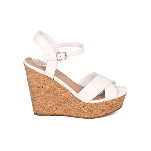 02b079af9ce Women Faux Cork Platform Wedge Sandal - Ankle Strap Wedge - Peep Toe ...