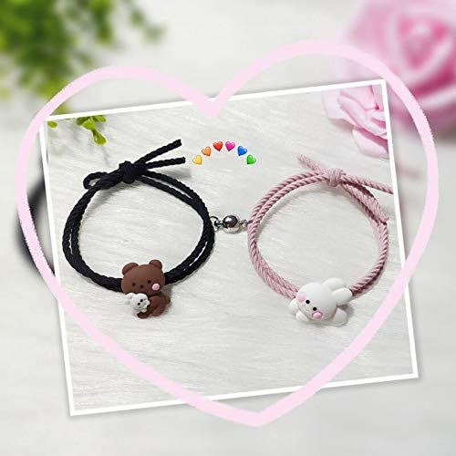 Schattige Bear Bunny Trek Koppels Armbanden 2 stks Geweven Armband Gift voor Jongen Meisje Fijne Vakmanschap Leuke Uiterlijk Beste Geschenken voor verloving Bruiloft Vriendschap Verjaardag Vrouw Vriendin Liefhebbers