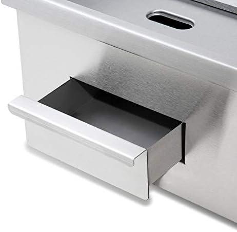 vertes 3000 W Plancha électrique professionnelle, lissé (Température jusqu'à 300 °C, Collecteur de graisse, Surface en fonte de 55 x 35 cm, Pieds en caoutchouc antidérapants)