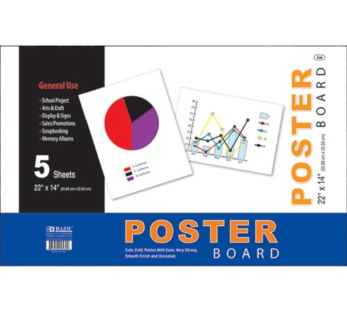 BAZIC 22'' X 14'' White Poster Board (5/Pack) (Case of 48) by Bazic