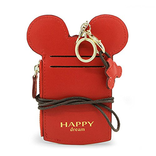 COCO LEE Chic Red Cute Travel PU Leather Student ID Card Holder Lanyard Neck Pouch Bag With Coin Wallet Purse for School Students Women Kids Teens Girls