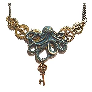 Handmade Steampunk Bronze & Golden Octopus Gears & Skeleton Key Bib Necklace Industrial Clockwork cogs Kraken Pirate