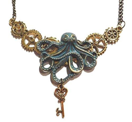 Handmade Steampunk Bronze & Golden Octopus Gears & Skeleton Key Bib Necklace Industrial Clockwork cogs Kraken Pirate