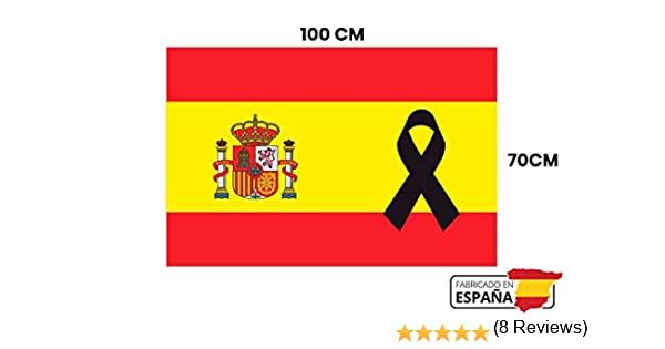 GMF Bandera de España con Lazo Negro | Medidas 100x70 |Hecha 100% en España | con Crespon de luto Negro | con Medidas para Balcon: Amazon.es: Jardín