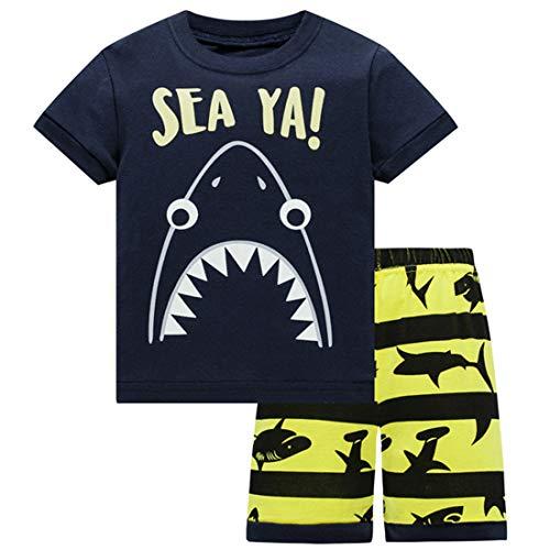 Boys Pajamas 4T Kids Clothes Summer Shorts for Toddler Cotton PJs Sharks Sleepwear