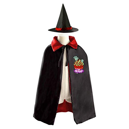 69PF-1 Halloween Cape Matching Witch Hat Tombstone Cake Wizard Cloak Masquerade Cosplay Custume Robe Kids/Boy/Girl Gift Red -