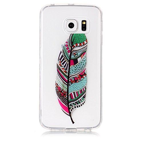 Funda Galaxy S6 Edge,SainCat Moda Alta Calidad suave de TPU Silicona Suave Funda Carcasa Caso Parachoques Diseño pintado Patrón para Carcasas Samsung Galaxy S6 Edge TPU Silicona Flexible Candy Colors  Plumas verdes