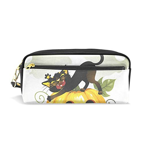 (Pencil Case/Makeup Bags Black Cat On Halloween Pumpkin and Ghost Big Capacity Portable Pencil Bag for College)
