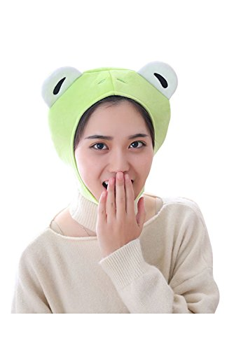 Pingstore Cartoon Cute Frog Cap Green Plush Frog Shaped Hat Headgear