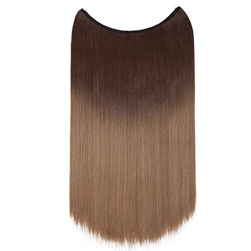 Hair Extensions Invisible Wire No Clips in Secret Rubber Band Hairpieces Real Natural Human Made Synthetic Fibre Hair(20