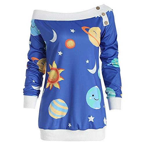 Space Sun And Moon Star Print Off-Shoulder Sweatshirt Long Sleeve Blouse Women -