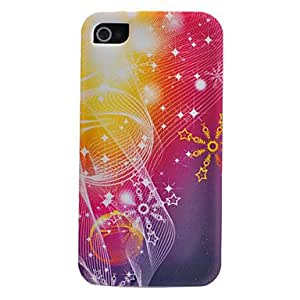 hao Gorgeous Colorful Starry Sky Pattern Transparent Frame Back Case for iPhone 4/4S