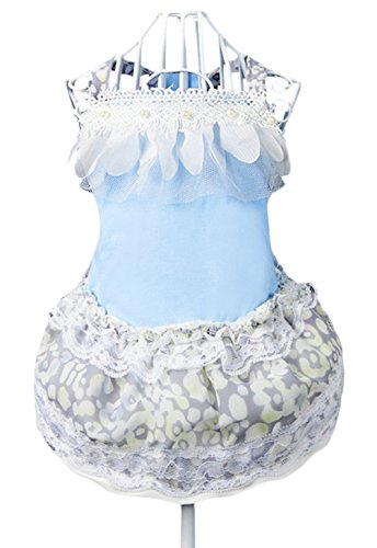Freerun Fashion Summer Beads Lace Rose Small Princess Dogt Cat Pet Puppy Clothes Apparel Costumes- Blue, (Homemade Puppy Costumes For Kids)