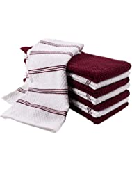 KAF Home Pantry Piedmont Kitchen Towels (Two Sets of 4, 16x26 inches), 100% Cotton, Ultra Absorbent Terry Towels - Wine Red