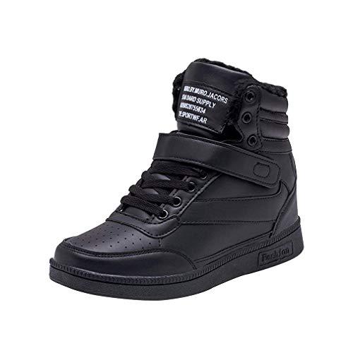 Ginnastica Da Stringate Sneakers Tinta Scarpe Rotonda Interna Basse Sportive Nero Unita Testa Pelliccia Con Donna Zeppa Fitness Velcro w6pqXI