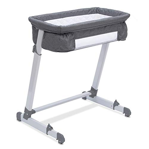Simmons Kids By The Bed City Sleeper Bassinet – Adjustable Height Portable Crib with Wheels & Airflow Mesh, Grey Tweed