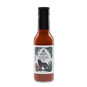 Queen Majesty Hot Sauce Hot Sauce Red Habanero Black Coffee, 5 Fz by Queen Majesty Hot Sauce