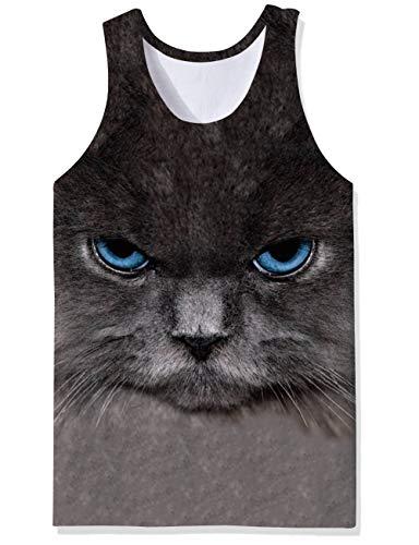 SKYRAINBOW Men's Athletic Training Tank Top Casual Bodybuilding Tee 3D Cute Cat Printed Vest Popular Undershirts Cat Mens Tank Top