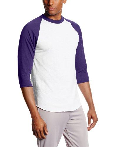 (Soffe MJ Men's 3/4 Sleeve Baseball Jersey, Large, Purple)