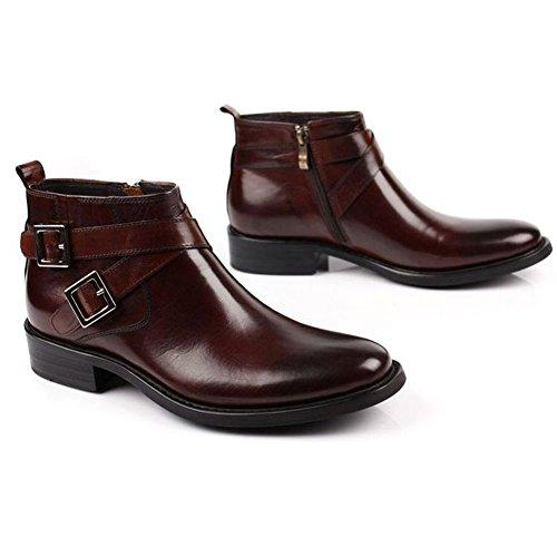 Santimon-mens Cuir Véritable Handsewn Haut-top Bottines Chaussures Daffaires Café