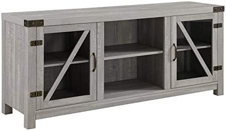 BOWERY HILL Rustic Farmhouse Barn Door Wood 58″ TV Stand Console Glass Storage