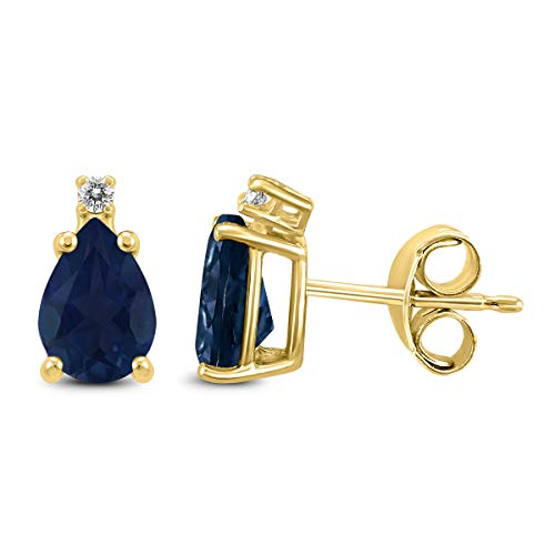 14K Yellow Gold 5x3MM Pear Sapphire and Diamond Earrings ()
