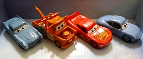 Disney Pixar Cars Plastic Figurines Set of 4 with Mcqueen , Mater , Sally , McMissle (Cake Toppers)