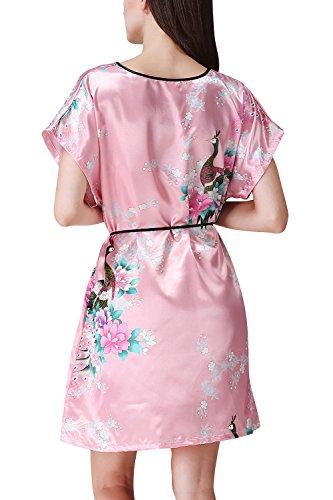 biancheria pigiameria Pink da Camicia Camicia 112cm da Fiori Pavone Pigiami Notte Dolamen e Raso 09 in intima notte Pigiama Lusso Donna pollici Chemise abito Busto 44 aUn4x6O